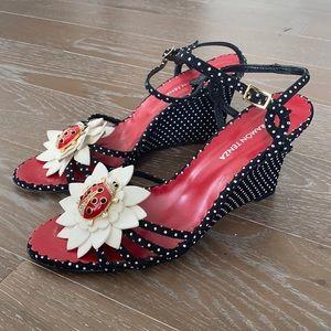 Ramon Tenza Polka Dot Ladybug Wedge Sandal    9M